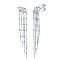 1.05ct 14k White Gold Diamond Eye Fringe Earring