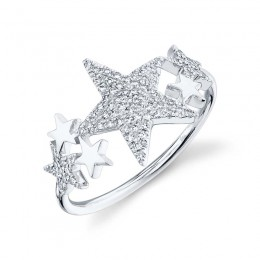0.19ct 14k White Gold Diamond Pave Star Ring
