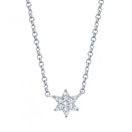 0.03ct 14k White Gold Diamond Star of David Necklace