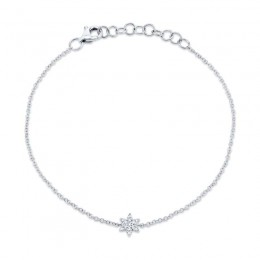 0.03ct 14k White Gold Diamond Star of David Bracelet