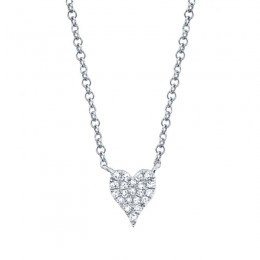 0.05ct 14k White Gold Diamond Pave Heart Necklace