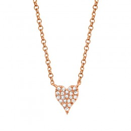 0.05ct 14k Rose Gold Diamond Pave Heart Necklace