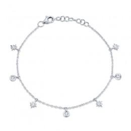 0.15ct 14k White Gold Diamond Star Bracelet
