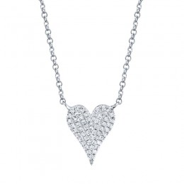 0.11ct 14k White Gold Diamond Pave Heart Necklace
