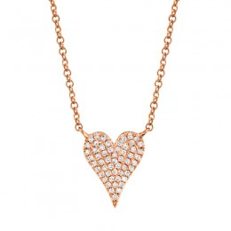 0.11ct 14k Rose Gold Diamond Pave Heart Necklace