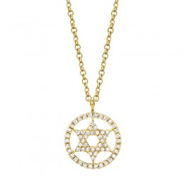 0.12ct 14k Yellow Gold Diamond Star of David Necklace
