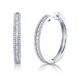 0.89ct 14k White Gold Diamond Baguette Hoop Earring