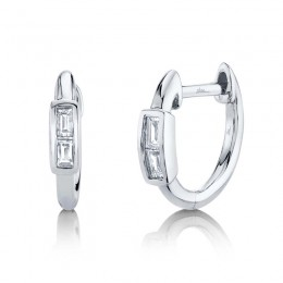 0.10ct 14k White Gold Diamond Baguette Huggie Earring