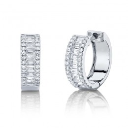 0.49ct 14k White Gold Diamond Baguette Huggie Earring