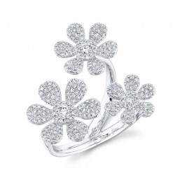 0.62ct 14k White Gold Diamond Flower Ring