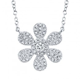 0.24ct 14k White Gold Diamond Flower Necklace