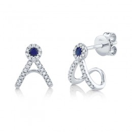 0.12ct Diamond and 0.09ct Blue Sapphire 14k White Gold Earring