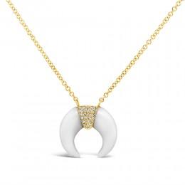 0.04Ct Diamond & 1.75Ct White Onyx Crescent Necklace