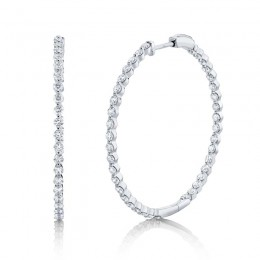2.36ct 14k White Gold Diamond Hoop Earring