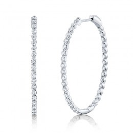2.06ct 14k White Gold Diamond Oval Hoop Earring