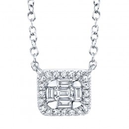 0.16ct 14k White Gold Diamond Baguette Necklace