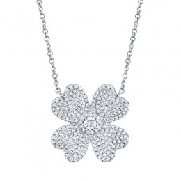0.56ct 14k White Gold Diamond Pave Clover Necklace