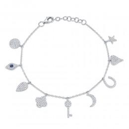 0.47ct Diamond & 0.06ct Blue Sapphire 14k White Gold Charm Bracelet