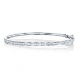 1.02ct 14k White Gold Diamond Baguette Bangle