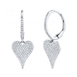 0.47ct 14k White Gold Diamond Pave Heart Earring