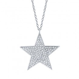 0.26ct 14k White Gold Diamond Star Necklace
