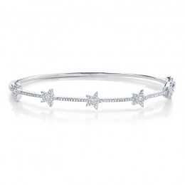 0.47ct 14k White Gold Diamond Star Bangle