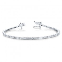 0.87Ct 14k White Gold Diamond Pave Bracelet