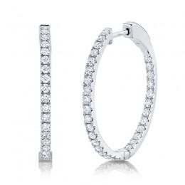 0.97ct 14k White Gold Diamond Hoop Earring