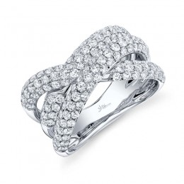2.00ct 14k White Gold Diamond Pave Bridge Ring