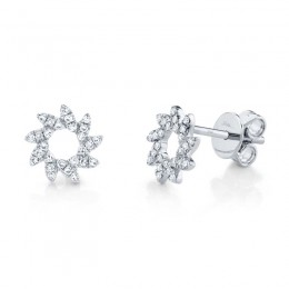 0.17ct 14k White Gold Diamond Flower Stud Earring