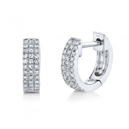0.17ct 14k White Gold Diamond Pave Huggie Earring