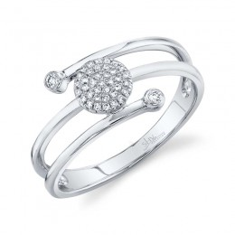 0.10ct 14k White Gold Diamond Pave Circle Ring