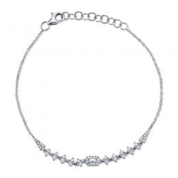 0.34ct 14k White Gold Diamond Baguette Bracelet