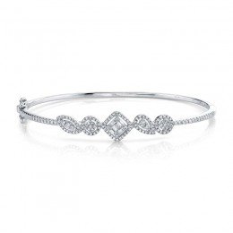 0.65ct 14k White Gold Diamond Baguette Bangle