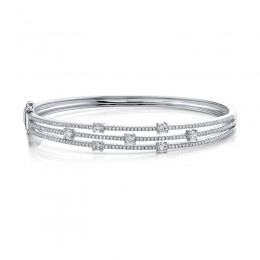 1.22ct 14k White Gold Diamond Bangle