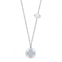 0.11ct 14k White Gold Diamond Pave Clover Disc Necklace