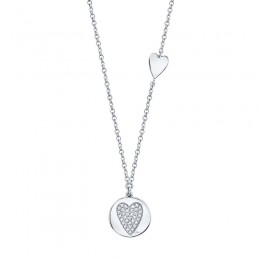 0.08ct 14k White Gold Diamond Pave Heart Disc Necklace