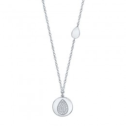 0.07ct 14k White Gold Diamond Pave Pear Disc Necklace