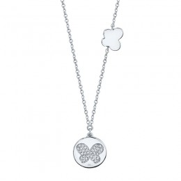 0.08ct 14k White Gold Diamond Pave Butterfly Disc Necklace