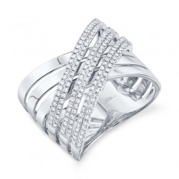 "0.54ct 14k White Gold Diamond Pave ""X"" Ring"