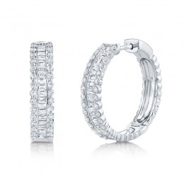 2.30ct 14k White Gold Diamond Baguette Hoop Earring