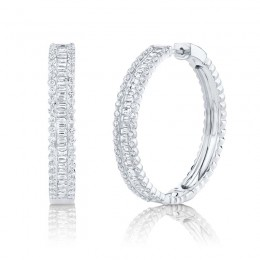 3.40ct 14k White Gold Diamond Baguette Hoop Earring