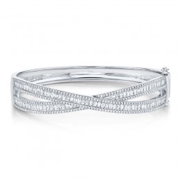 3.25ct 14k White Gold Diamond Baguette Bangle