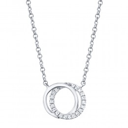 0.07ct 14k White Gold Diamond Circle Necklace
