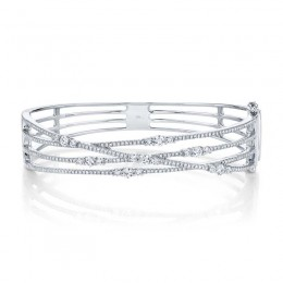 1.60ct 14k White Gold Diamond Bridge Bangle
