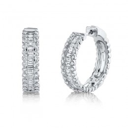 1.67ct 14k White Gold Diamond Baguette Hoop Earring