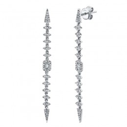 0.68ct 14k White Gold Diamond Baguette Earring