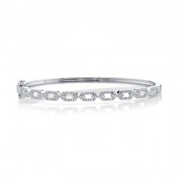 0.44ct 14k White Gold Diamond Link Bangle