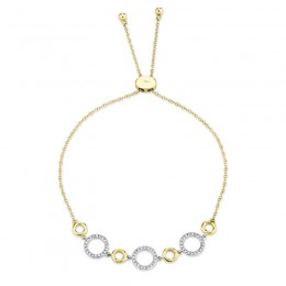 0.18ct 14k Two-tone Yellow Gold Diamond Circle Bolo Bracelet
