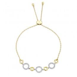 0.18ct 14k Two-tone Yellow Gold Diamond Circle Bolo Bracelet